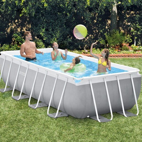 Family in Intex Backyard Pool