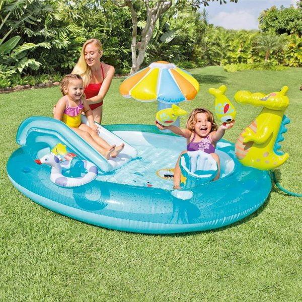 Girls Playing in Backyard Baby Pool