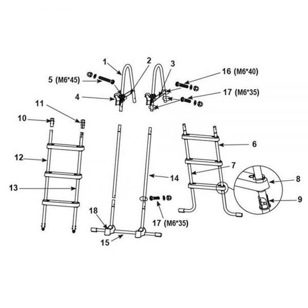 Pool Ladder Parts Diagram